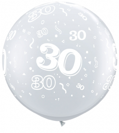 3FT Diamond Clear  Age 30 Latex Balloons x 2